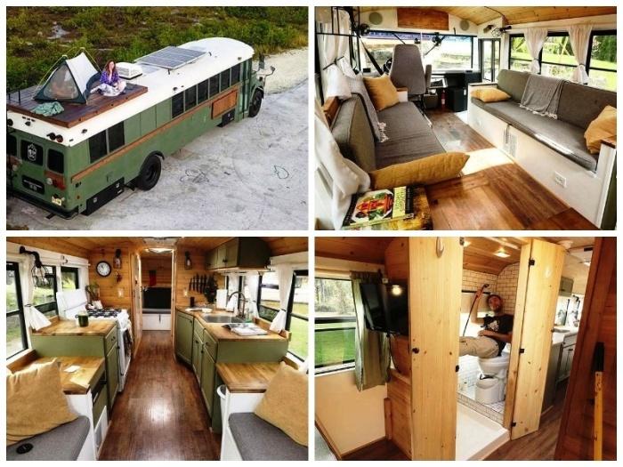 Старый школьный автобус Coversion превратили в полнофункциональное жилье на колесах. | Фото: mynet.com.