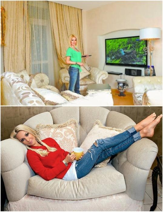 В своей новой квартире Лера отдала предпочтение мягким, округлым формам. | Фото: zen.yandex.ru.