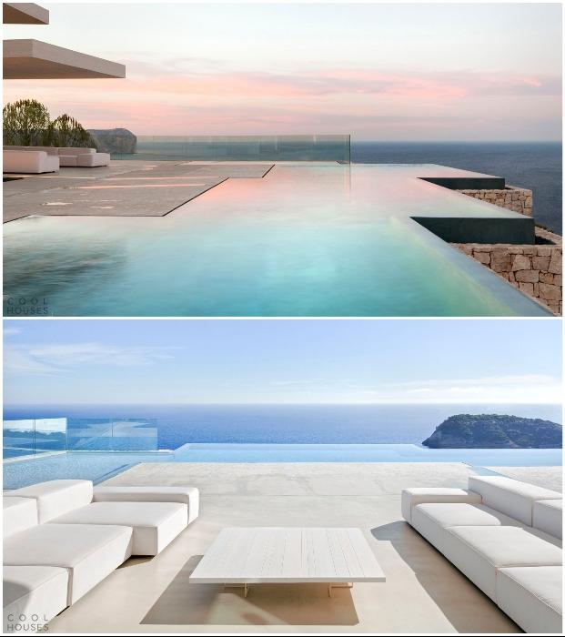 Особенным украшением территории особняка Casa Sardinera стал панорамный бассейн, создающий иллюзию единения с теплыми водами Средиземного моря (Аликанте, Испания).