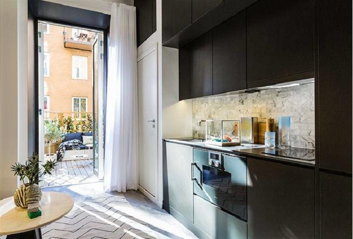 Кухня в черном цвете — неординарное решение дизайнеров.