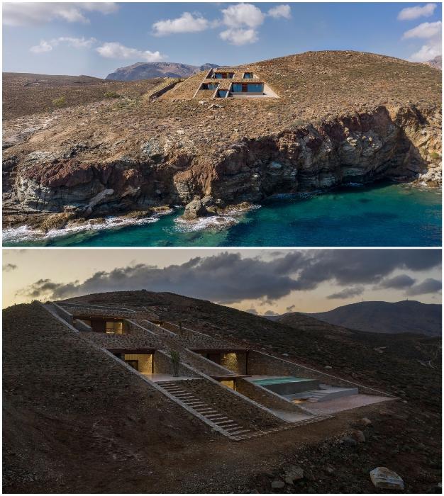 Завершилось строительство дома-невидимки, спрятанного в скалистом греческом ландшафте (Ncaved House, о-в Серифос).