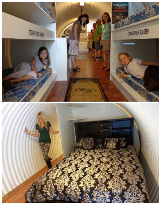 В бункере есть спальня для взрослых и двухъярусные кровати в детской (Бомбоубежище Atlas).
