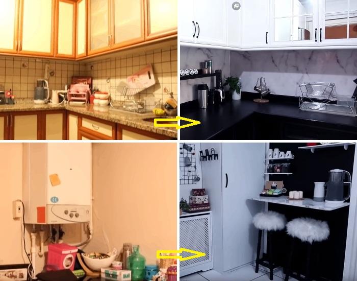 Из весьма унылой, захламленной комнаты получилась современная стильная кухня.