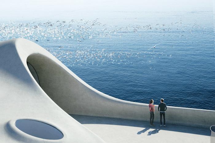 Открытые террасы станут общедоступным местом и для посетителей, и для прохожих (концепт «Wormhole Library», Хайкоу). | Фото: worldarchitecture.org/ © MAD Architects.