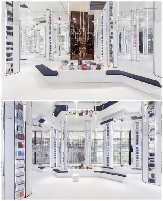 Посредине зала с вертикальными зеркальными полками находится уютная зона для чтения книг (Книжный магазин в Ханчжоу, Китай). | Фото: kinderlibrary.wordpress.com.