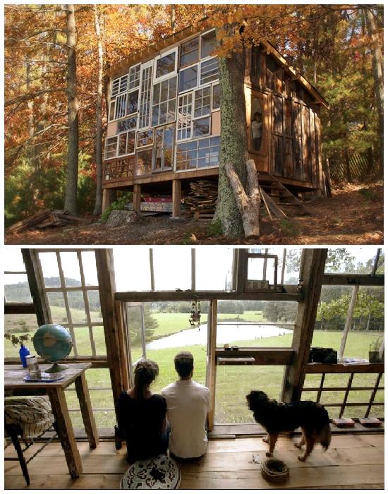 Крошечный домик на опушке леса The Sunset Hous имеет полностью остекленный фасад (США). | Фото: huckberry.com.