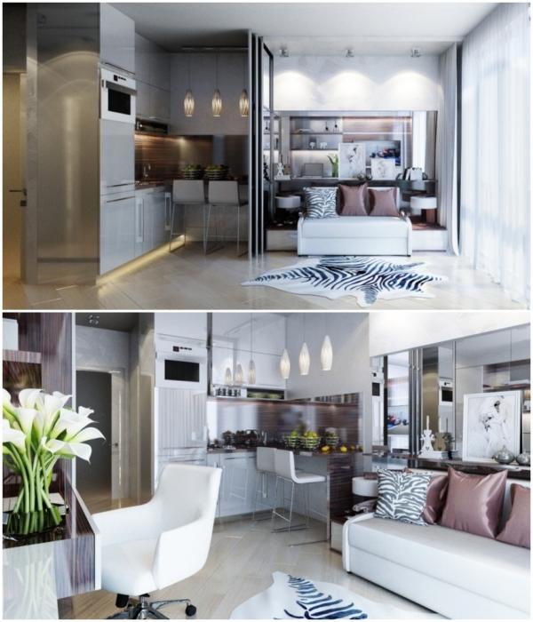 Пример использования компактной мебели для организации интерьера квартиры площадью 20 кв. м от дизайнера Екатерины Ремизовой. | Фото: homebuilding.ru.