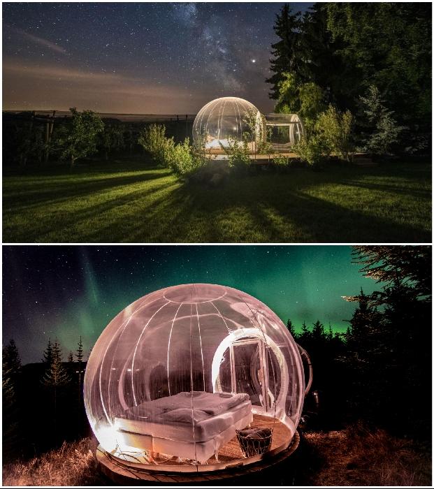 Минимализм интерьера компенсируется умопомрачительным пейзажем и созерцанием миллионов звезд («Bubble Hotel», Исландия). | Фото: northernlightsiceland.com/ v-remonta.ru.