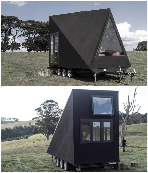 Странной формы дом на колесах появился в Австралии («Base Cabin», Мельбурн). | Фото: fundesign.tv/ arquine.com.