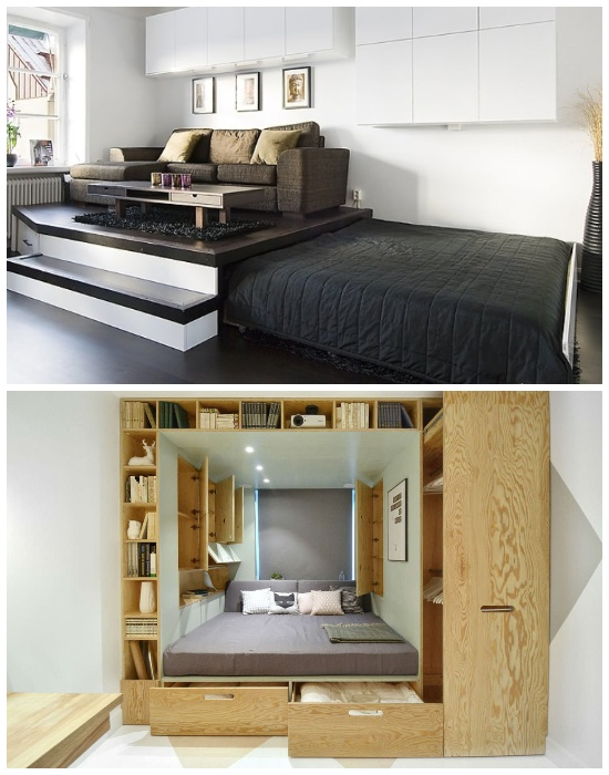 С помощью созданного подиума можно организовать разные функциональные зоны. | Фото: design-homes.ru.