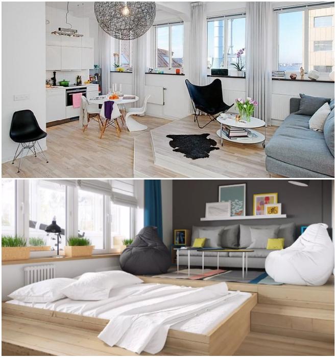 Многофункциональный подиум всегда поможет выделить гостиную в квартире-студии. | Фото: yastroyu.ru/ myfancyhouse.com.