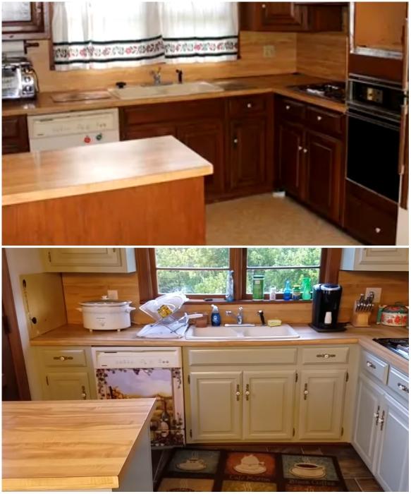Старый кухонный гарнитур из натурального дерева решили сделать более современным. | Фото: youtube.com/ Lisa Capen Quilts.