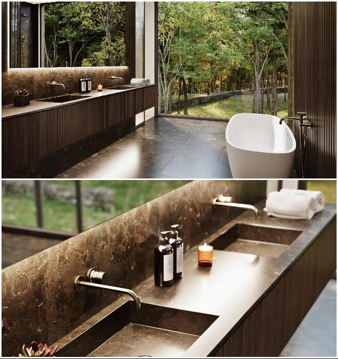 Так будет выглядеть одна из ванных комнат загородного особняка (концепт Sylvan Rock).