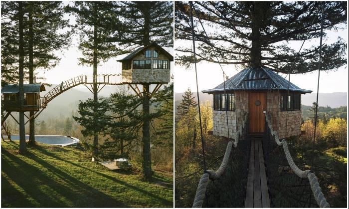 Сразу два домика на дереве построил Фостер Хантингтон, чтобы жить, наслаждаясь полной свободой и красотой (Колумбия, США). | Фото: rope-park.com.