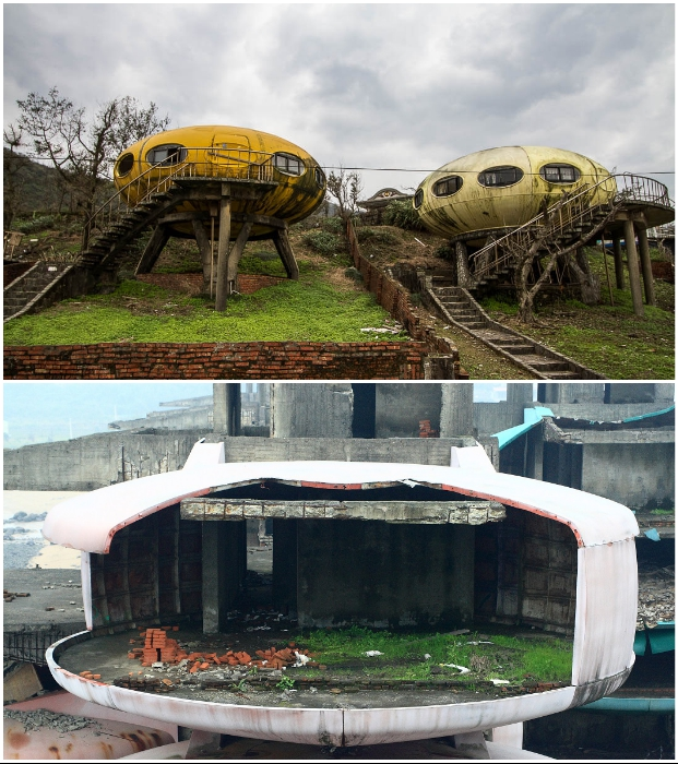Перед сносом UFO houses имели совсем жалкий вид (Футуро, Тайвань).
