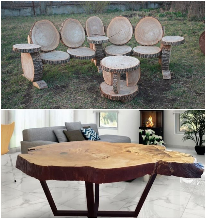 Мебель из массивных спилов одинаково хорошо смотрится и на дачном участке, и в современной квартире. | Фото: avito.ru/ maja-dacha.ru.