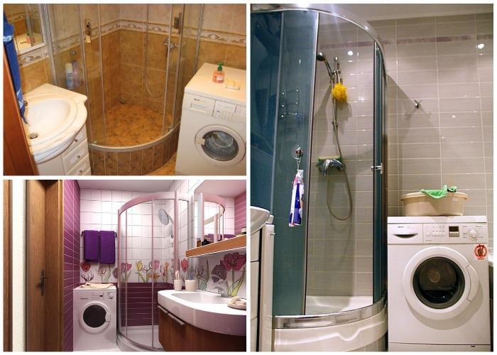 Вместо ванной можно установить душевую кабинку и рядом стиральную машину.