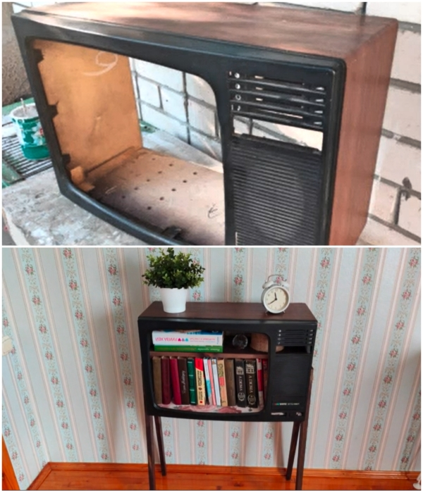 Вот что получилось из старого телевизора, долгие годы пылящегося в сарае. | Фото: youtube.com/ © Шебби-Шик.