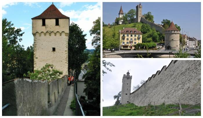 Крепостная стена Мюсегмауер объединяет 8 башен (Люцерн, Швейцария). | Фото: ru.foursquare.com.