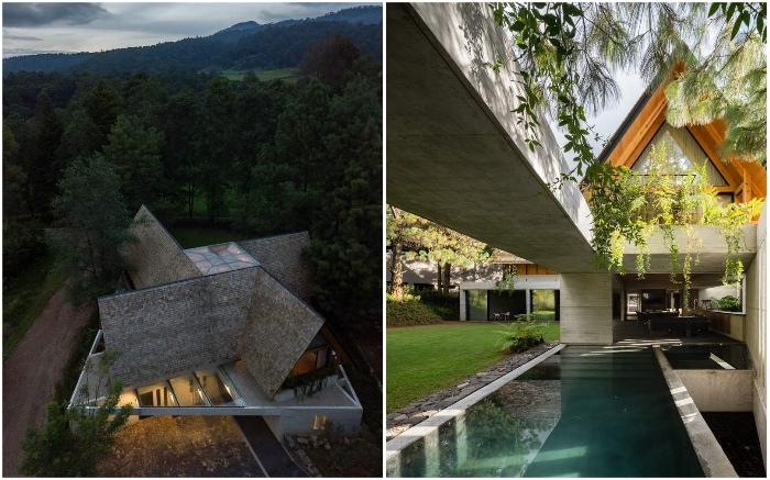 Неожиданные архитектурные формы загородного особняка CRA House от архстудии Estudio MMX (Валье-де-Браво, Мексика).