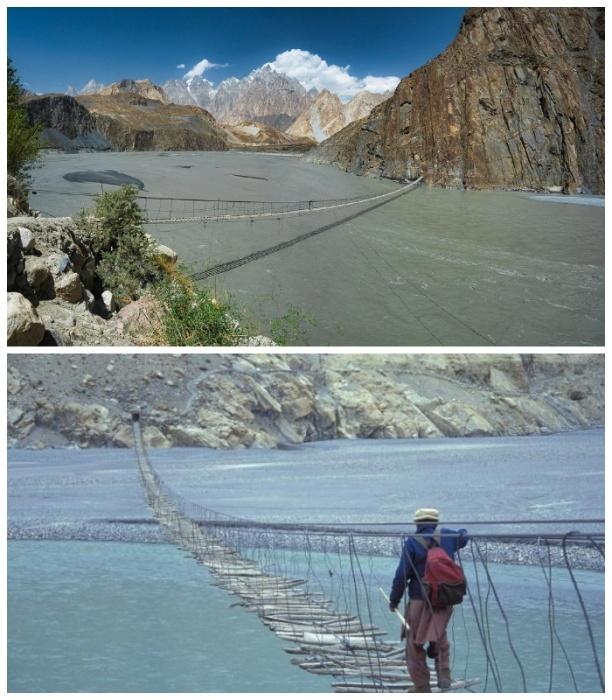 Самый длинный и жуткий мост Пакистана - мост Хуссаини (Hussaini bridge). | Фото: diddlybop.ru.