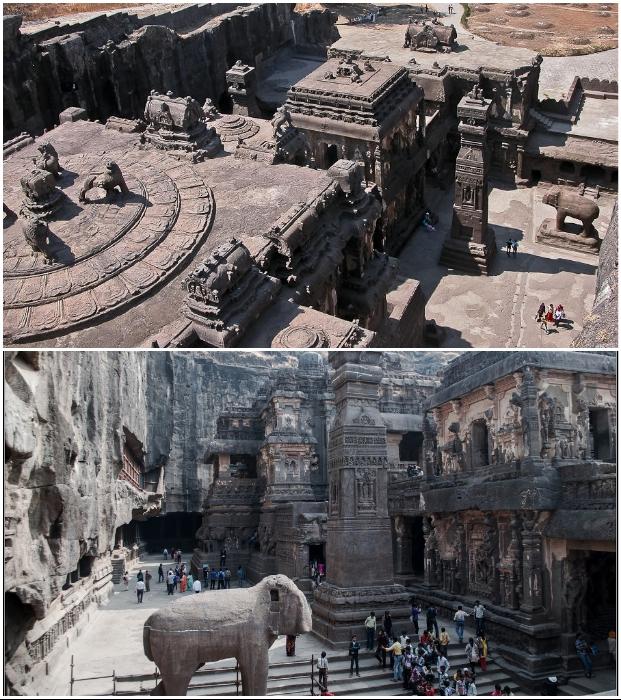 Уникальность Храма Кайласанатха состоит в том, что его вырубили из монолитной скалы сверху вниз (Эллора, Индия).