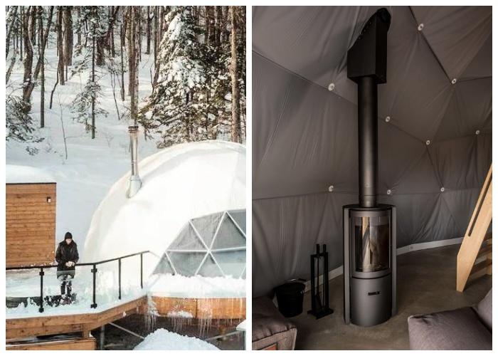 В зимнюю стужу номер можно отапливать с помощью дровяной печки (Domes Charlevoix, Канада).