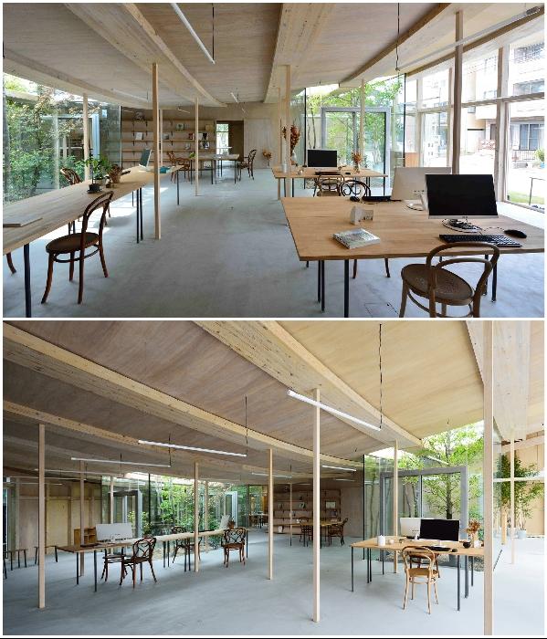 Рабочее пространство с открытой планировкой наполнено светом («Sannouno», Япония). | Фото: studiovelocity.jp.