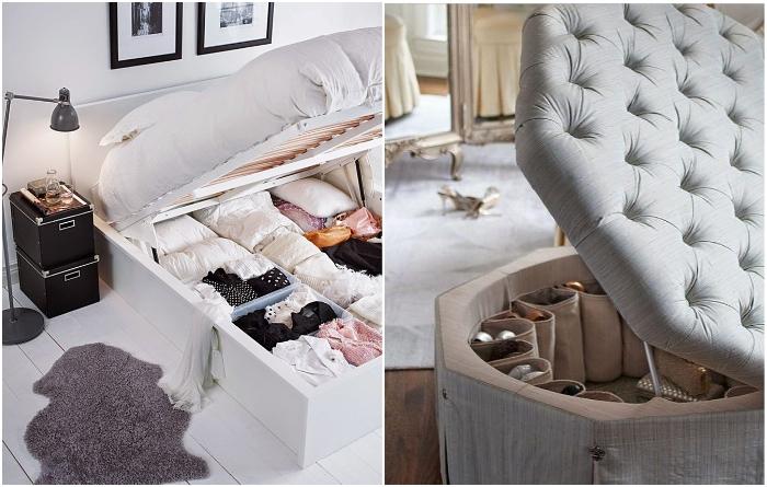 Кровать с подъемным механизмом и даже пуф помогут пристроить кучу нужных вещей. | Фото: kvartblog.ru/ ivd.ru.