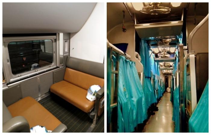 Комфортные места в плацкартном вагоне отделены индивидуальными шторками (Тайвань).