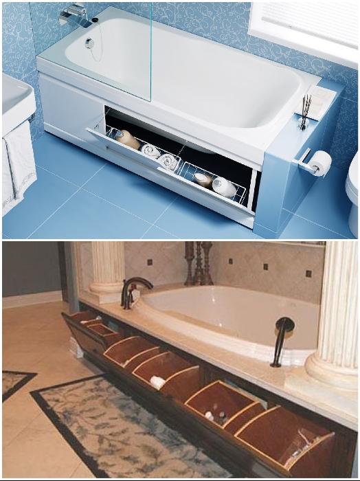 Потайные места для хранения необходимых гигиенических средств можно найти и возле ванной. | Фото: u-dom.kz/ cpykami.ru.