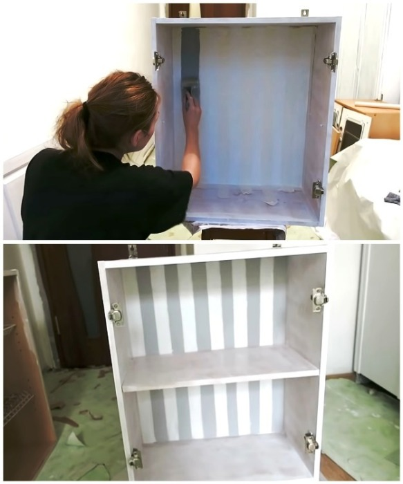С помощью малярного скотча и серой краски внутреннюю стенку шкафчика Анна сделала полосатой.   Фото: youtube.com/ Anna_Studio.