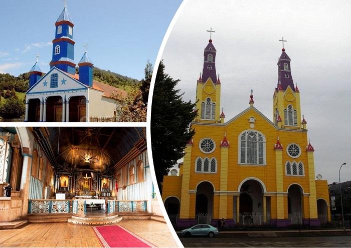 Самобытные деревянные церкви острова Чилоэ.
