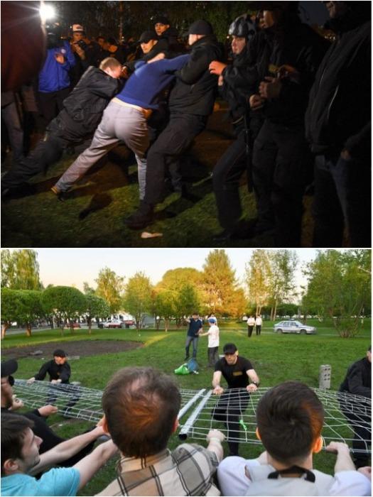 Протестующие перешли к активным действиям, когда появился забор вокруг будущей стройплощадки (Екатеринбург). | Фото: vedomosti.ru.