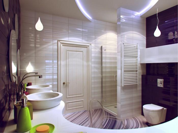 Стильно оформленная ванная, прекрасное место для уединения и отдыха.