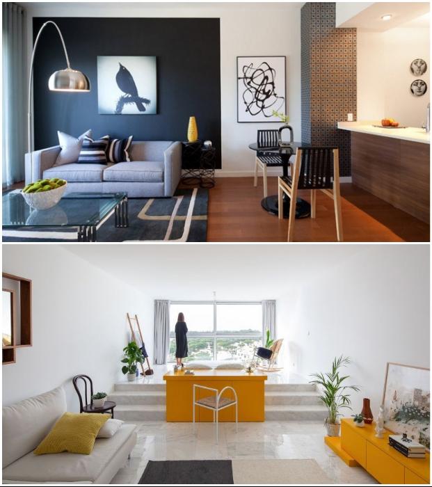 Зонирование общего жилого пространства с помощью цвета и подиума.
