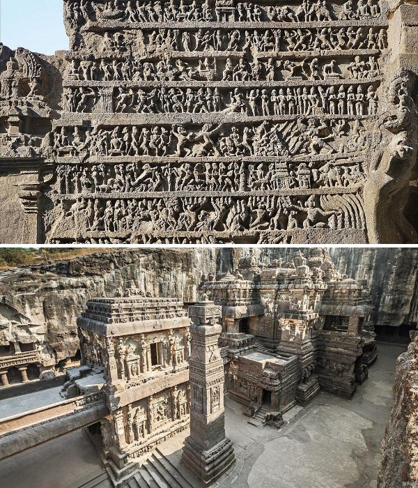 Каждый резной элемент несет смысловую нагрузку и прославляет одного их трех богов (Kailasanatha, Индия). | Фото: feel-feed.ru.