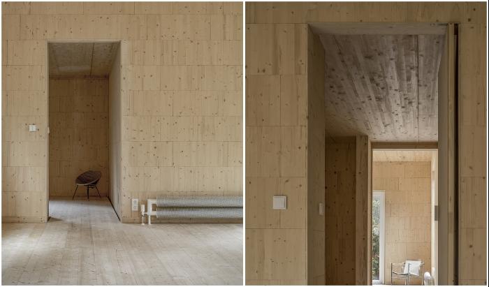 Все внутренние помещения имеют светлые деревянные стены, полы и потолки (Haus Koeris, Германия). © Zeller & Moye.
