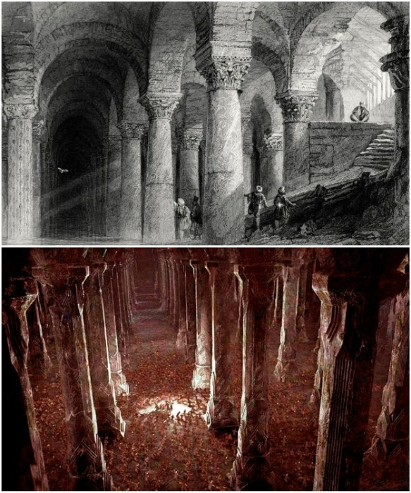 Строительство самой большой подземной цистерны Константинополя началось в IV веке (Basilica Cistern, Стамбул). | Фото: javadfesharaki.blog.ir.