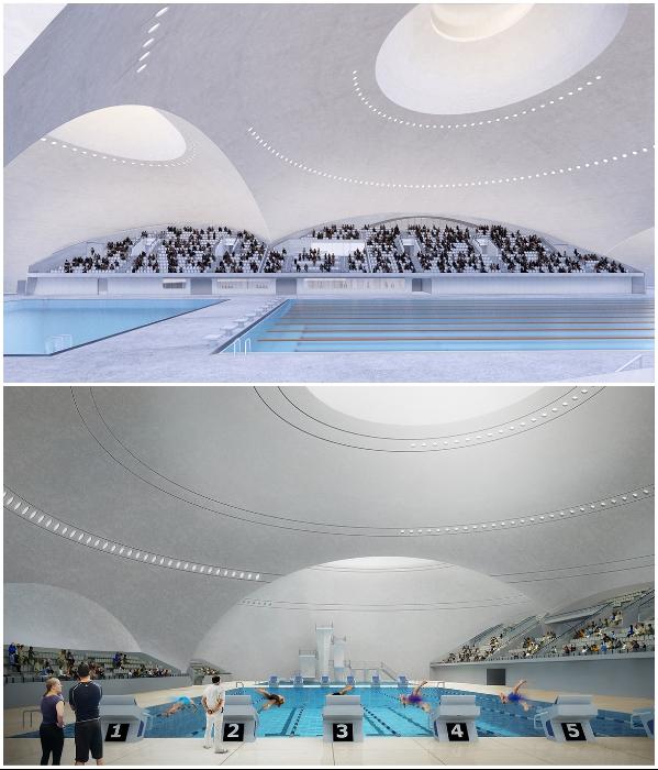 В спортивном городке построят подземный крытый бассейн, который будет вмещать до 2 тыс. зрителей (визуализация «Quzhou Sports Park»). | Фото: newatlas.com/ © MAD Architects.