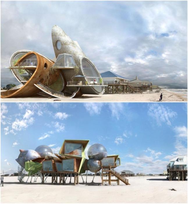 Жизнь островитян вдохновила художника на создание серии сюрреалистичных визуализаций жилья из металла и бетона. | Фото: mastersochi.ru/ Dionisio Gonzalez.