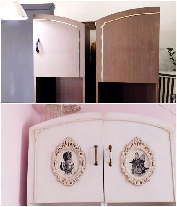 Модный «потертый шик», или Как превратить старый советский шкаф в стильный предмет интерьера. | Фото: youtube.com/ © DrujkaLena.