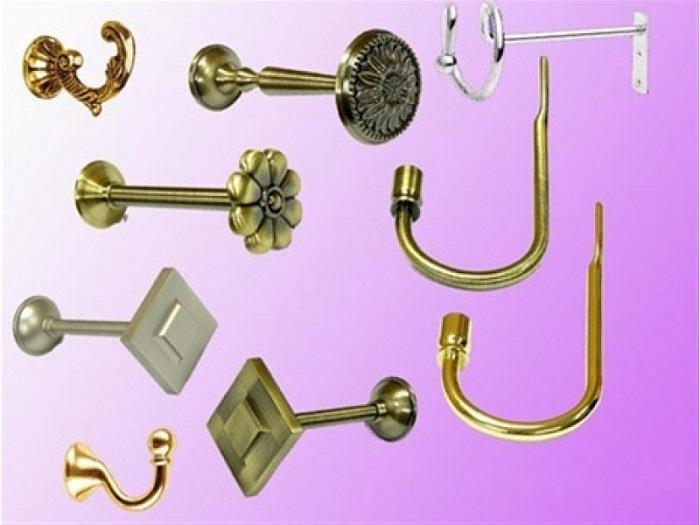 Крючки и держатели для точечного крепления штор.