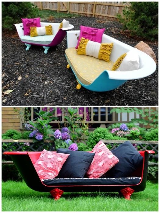 Стильный диванчик из старой ванны украсит любой дачный участок. | Фото: happymodern.ru.