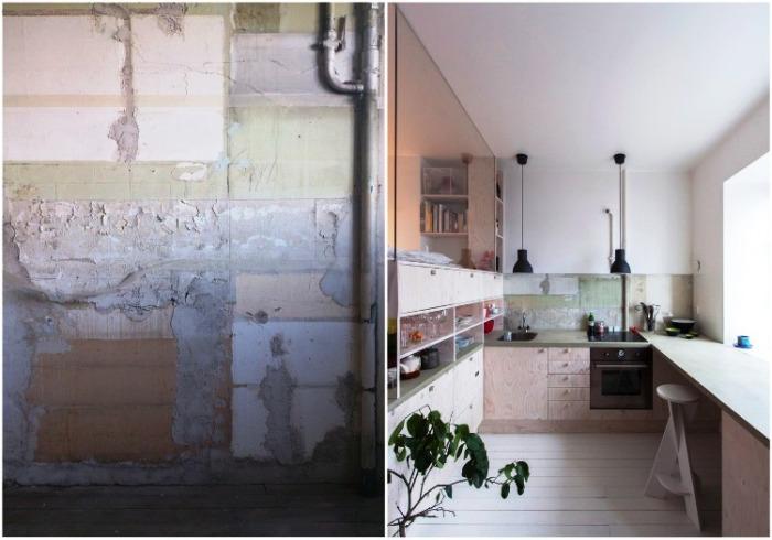 Зона кухни до и после ремонта. | Фото: treehugger.com.