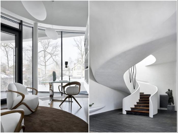 Стильный интерьер особняка подстать незаурядным архитектурным формам (House in the landscape, Подмосковье).