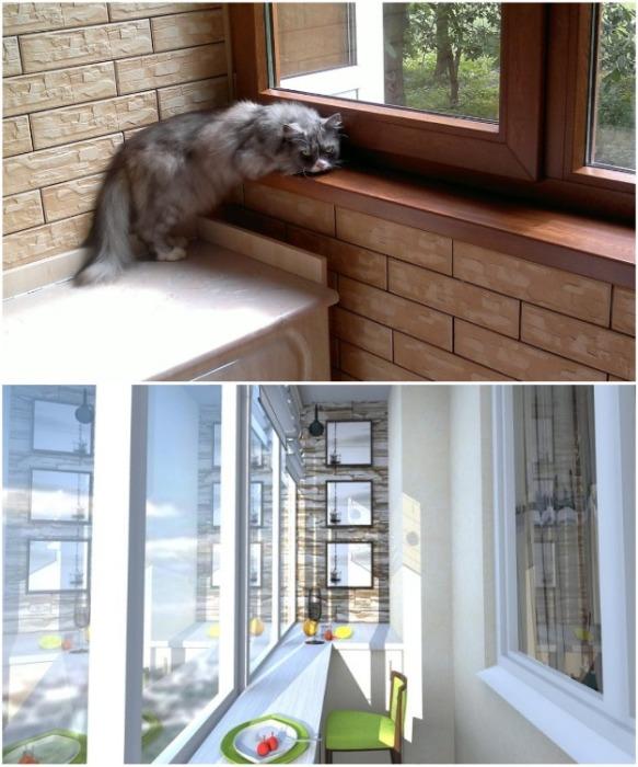 Перед оформлением балкона нужно продумать ширину подоконника. | Фото: filin-spb.ru.