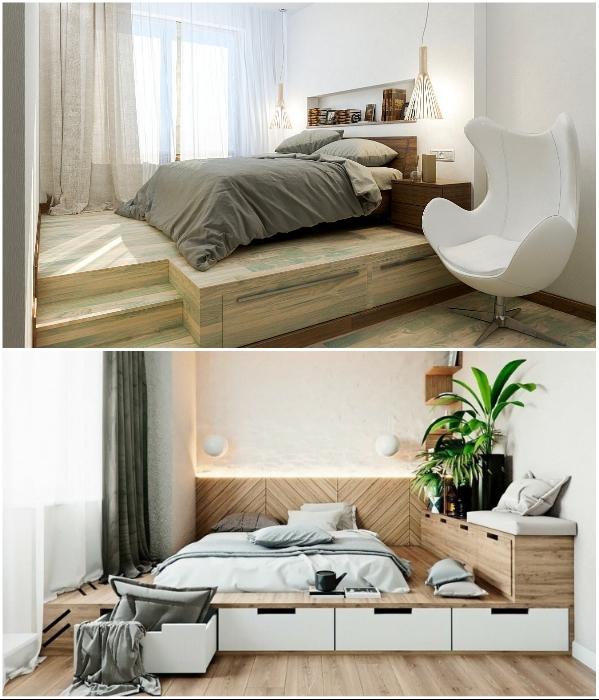 Кровать-подиум станет местом для сна и зоной для хранения вещей. | Фото: asusfone.ru/ yandex.kz.