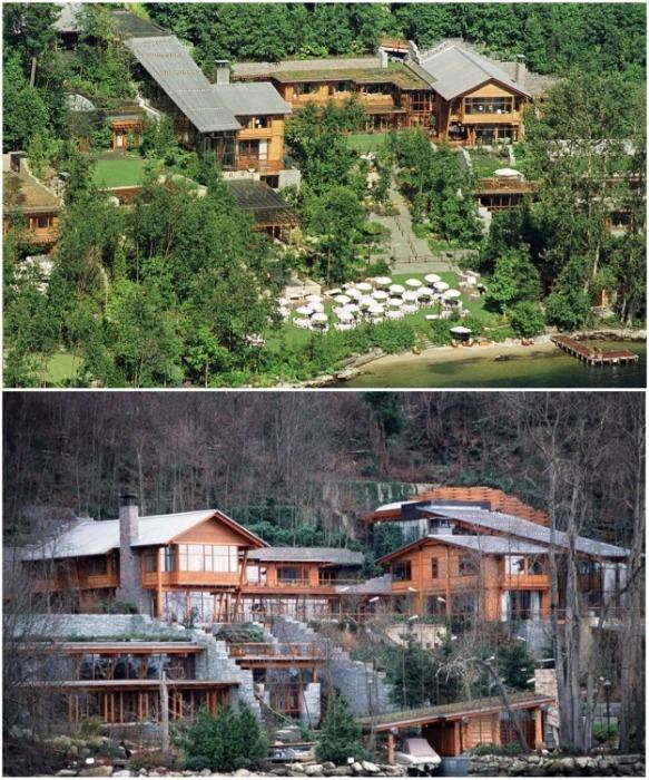 «Умный» дом Билла Гейтса находится в пригороде Сиэтла на берегу озера Вашингтон в Медине (Xanadu 2.0, США). | Фото: forestgum.ru.