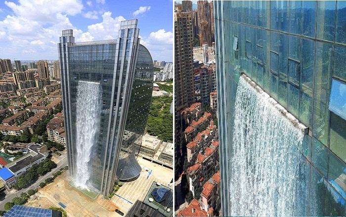 Необыкновенный водопад на небоскребе.
